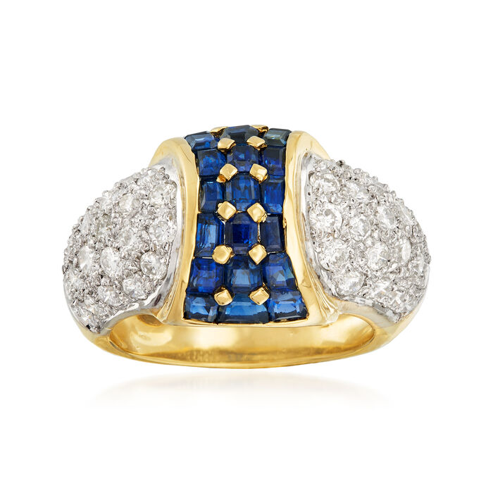 C. 1980 Vintage 2.32 ct. t.w. Sapphire and 1.41 ct. t.w. Pave Diamond Ring in 18kt Yellow Gold. Size 6.5