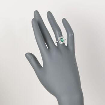 .80 Carat Emerald and .49 ct. t.w. Diamond Ring in 18kt White Gold, , default