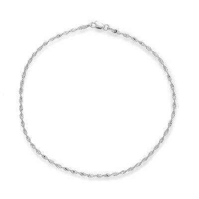 14kt White Gold Dorica Chain Anklet, , default