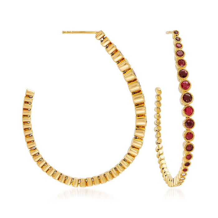 2.70 ct. t.w. Ruby Hoop Earrings with Diamond Accents in 18kt Yellow Gold. 1 7/8""