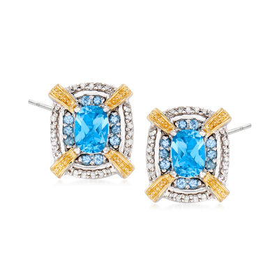 2.20 ct. t.w. Swiss Blue Topaz and .22 ct. t.w. Diamond Earrings in Sterling Silver with 14kt Yellow Gold