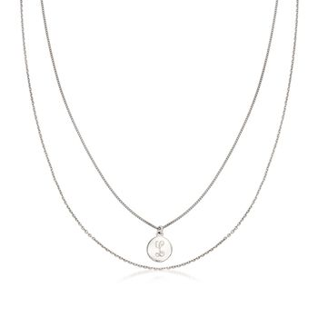 Italian Sterling Silver Layered Single Initial Disc Necklace, , default