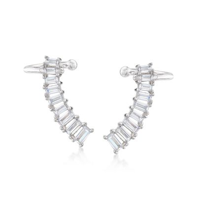1.60 ct. t.w. Graduated CZ Ear Climbers in Sterling Silver , , default