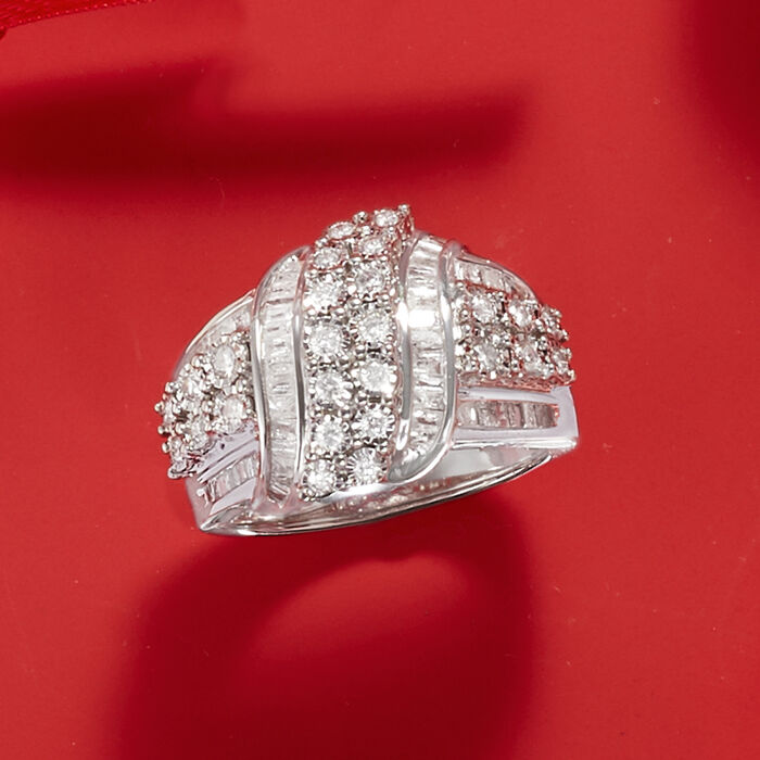 1.00 ct. t.w. Round and Baguette Diamond Ring in Sterling Silver