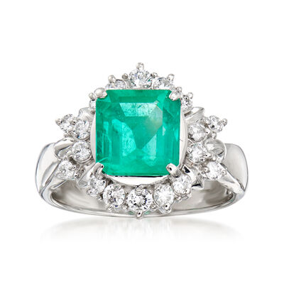 C. 1980 Vintage 2.22 Carat Emerald and .52 ct. t.w. Diamond Halo Ring in Platinum