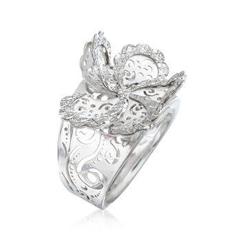 Italian Sterling Silver Diamond-Cut Swirl Flower Ring, , default