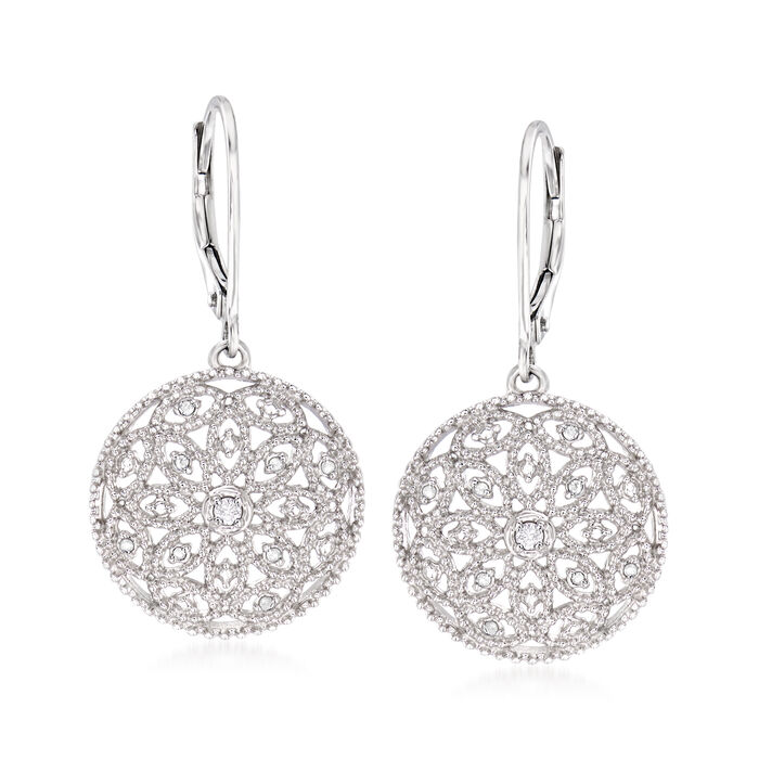 .10 ct. t.w. Diamond Floral Openwork Circle Drop Earrings in Sterling Silver