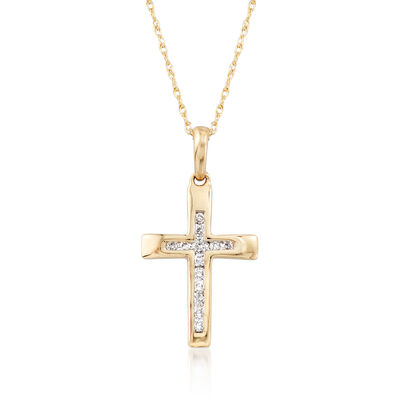 .12 ct. t.w. Channel-Set Diamond Cross Pendant Necklace in 14kt Yellow Gold, , default