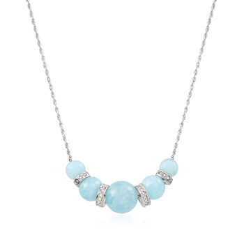 "16.75 ct. t.w. Graduated Aquamarine Bead and .37 ct. t.w. Diamond Spacer Necklace in Sterling Silver. 16"", , default"