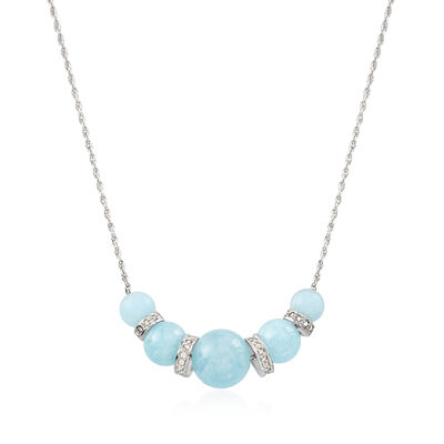 16.75 ct. t.w. Graduated Aquamarine Bead and .37 ct. t.w. Diamond Spacer Necklace in Sterling Silver, , default
