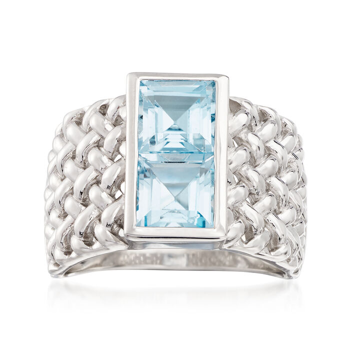 2.20 ct. t.w. Sky Blue Topaz Woven Ring in Sterling Silver, , default
