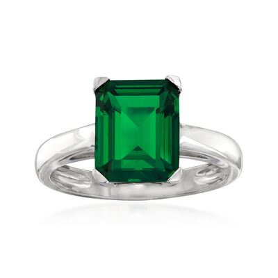 4.00 Carat Simulated Emerald Ring in Sterling Silver, , default