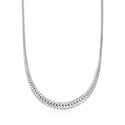 Sterling Silver Graduated Curb-Link Necklace, , default