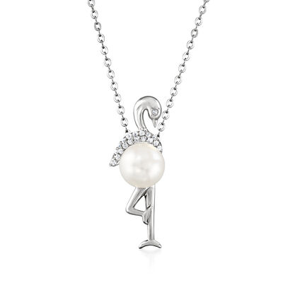 Cultured Pearl and .20 ct. t.w. White Topaz Bird Pendant Necklace in Sterling Silver