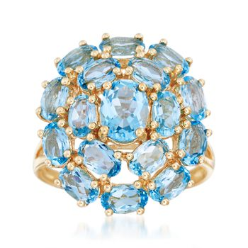 4.60 ct. t.w. Blue Topaz Cluster Ring in 14kt Yellow Gold, , default