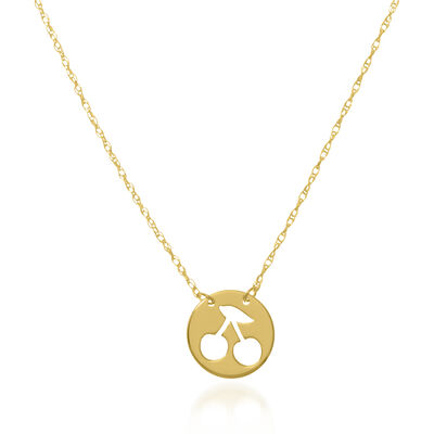 14kt Yellow Gold Cut-Out Cherry Disc Necklace