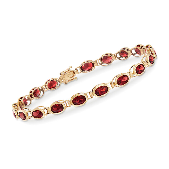 "11.59 ct. t.w. Garnet Bezel-Set Bracelet in 14kt Yellow Gold. 8.25"", , default"