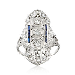 C. 1990 Vintage .60 ct. t.w. Diamond and .12 ct. t.w. Synthetic Sapphire Ring in 14kt White Gold, , default