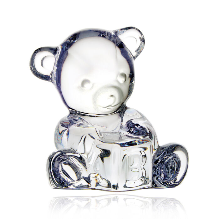 """Waterford Crystal """"Giftology"""" Baby Bear with Block Figurine, , default"""