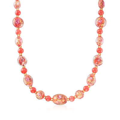 Italian Multicolored Murano Glass Bead Necklace with 18kt Yellow Gold Over Sterling Silver, , default