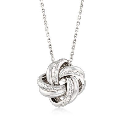 Italian Sterling Silver Love Knot Pendant Necklace, , default