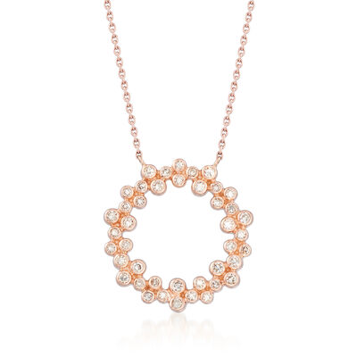 .32 ct. t.w. Bezel-Set Diamond Circle Pendant Necklace in 14kt Rose Gold, , default