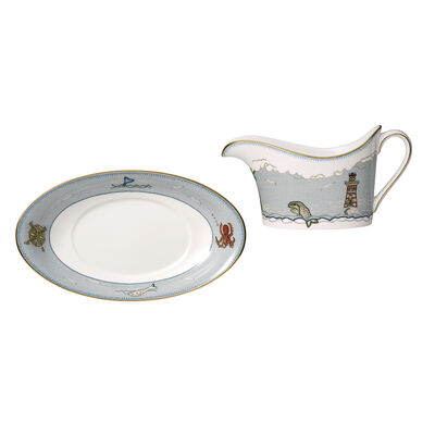 """Kit Kemp for Wedgwood """"Sailor's Farewell"""" Gravy Boat with Stand"""
