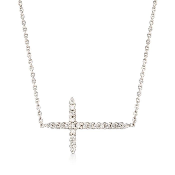 Roberto Coin .10 ct. t.w. Diamond Sideways Cross Necklace in 18kt White Gold