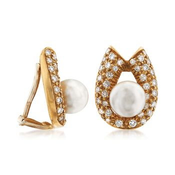 C. 1970 Vintage 2mm Cultured Pearl and 1.30 ct. t.w. Diamond Horseshoe Clip-On Earrings in 14kt Yellow Gold , , default