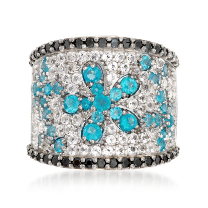 1.00 ct. t.w. Apatite and 1.00 ct. t.w. White Topaz Ring with Black Spinels in Sterling Silver, , default