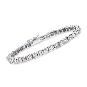 """5.00 ct. t.w. Round and Baguette Diamond Tennis Bracelet in 14kt White Gold. 7"""", , default"""