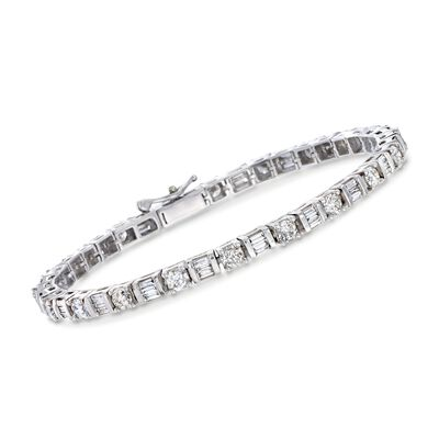 5.00 ct. t.w. Round and Baguette Diamond Tennis Bracelet in 14kt White Gold, , default
