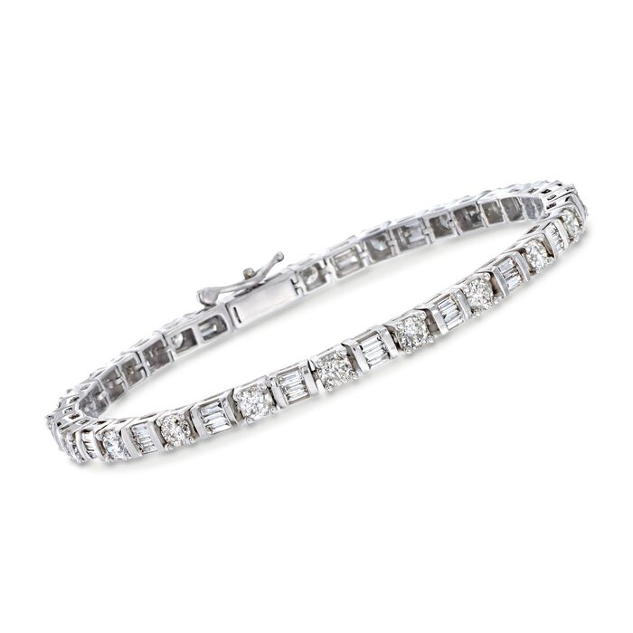 "5.00 ct. t.w. Round and Baguette Diamond Tennis Bracelet in 14kt White Gold. 7"", , default"