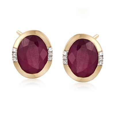 4.60 ct. t.w. Oval Ruby Earrings with Diamond Accents in 14kt Yellow Gold, , default