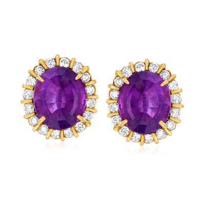 C. 1970 Vintage 9.80 ct. t.w. Amethyst and 1.10 ct. t.w. Diamond Frame Earrings in 14kt Yellow Gold, , default