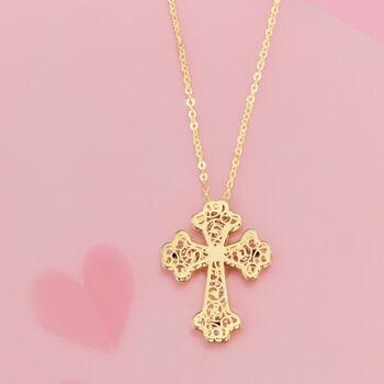 Italian 14kt Yellow Gold Filigree Cross Pendant Necklace, , default