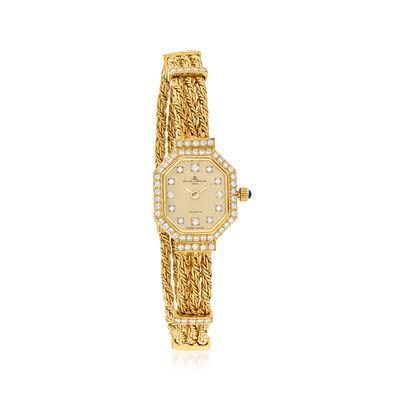C. 1980 Vintage Baume & Mercier Women's 17mm .80 ct. t.w. Diamond Watch in 18kt Yellow Gold, , default