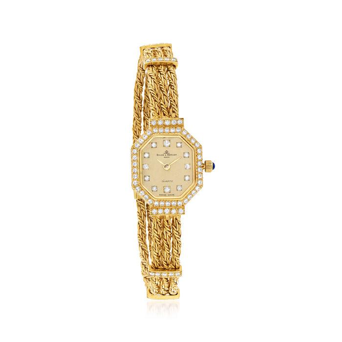 C. 1980 Vintage Baume & Mercier Women's 17mm .80 ct. t.w. Diamond Watch in 18kt Yellow Gold. Size 6.75, , default