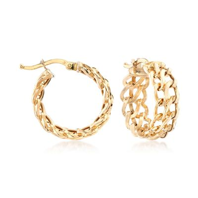 Italian 18kt Yellow Gold Double-Link Hoop Earrings, , default