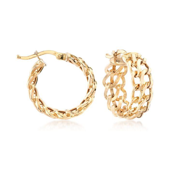 "Italian 18kt Yellow Gold Double-Link Hoop Earrings. 3/4"", , default"