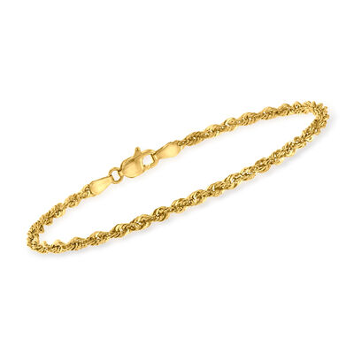 14kt Yellow Gold 2.6mm Rope Chain Bracelet