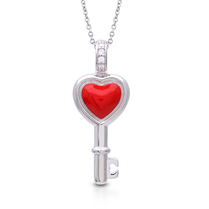 "Belle Etoile ""Love is the Key"" Red Enamel Pendant Necklace in Sterling Silver. 18"", , default"