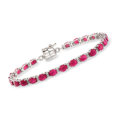7.00 ct. t.w. Ruby and .20 ct. t.w. White Topaz Tennis Bracelet in Sterling Silver with Magnetic Clasp, , default