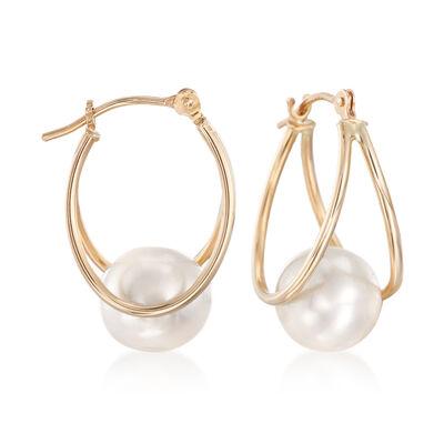 8-9mm Cultured Pearl Double Hoop Earrings in 14kt Yellow Gold, , default