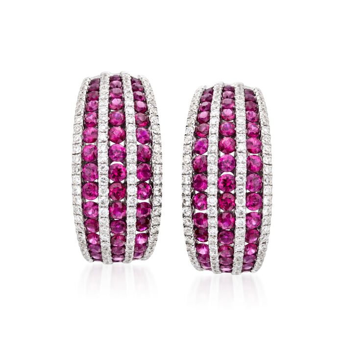 """2.70 ct. t.w. Ruby and 1.00 ct. t.w. Diamond Hoop Earrings in 18kt White Gold. 7/8"""", , default"""