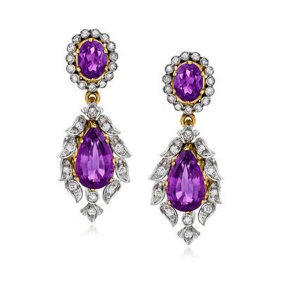 C. 1960 Vintage 8.20 ct. t.w. Amethyst and 1.25 ct. t.w. Diamond Drop Earrings in 18kt Yellow Gold