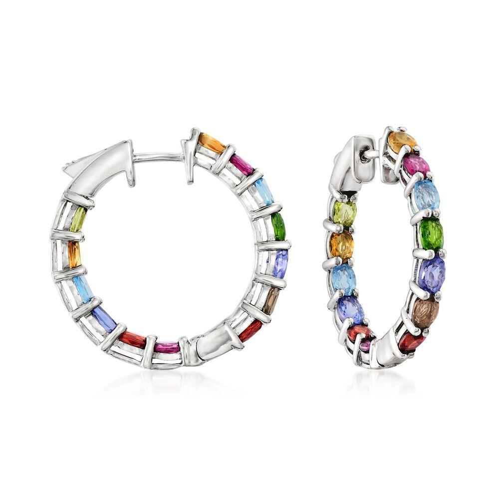 5d2c1b3063661 3.90 ct. t.w. Multi-Stone Inside-Outside Hoop Earrings in Sterling Silver.  1