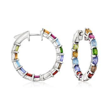 """3.90 ct. t.w. Multi-Stone Inside-Outside Hoop Earrings in Sterling Silver. 1"""", , default"""