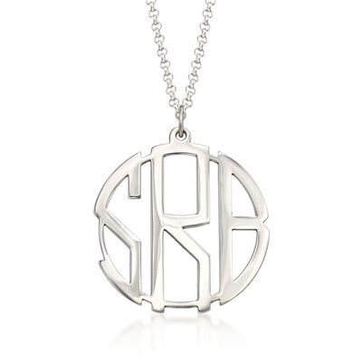 Sterling Silver Open Block Monogram Pendant Necklace, , default