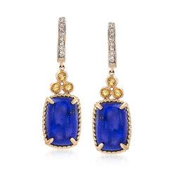 Lapis and .20 ct. t.w. Citrine Drop Earrings in 14kt Yellow Gold, , default